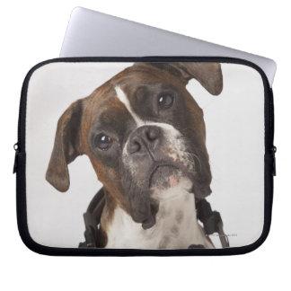 boxer dog with headphones laptop sleeve
