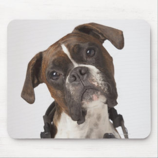 boxer dog with headphones mouse mat