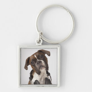 boxer dog with headphones Silver-Colored square key ring