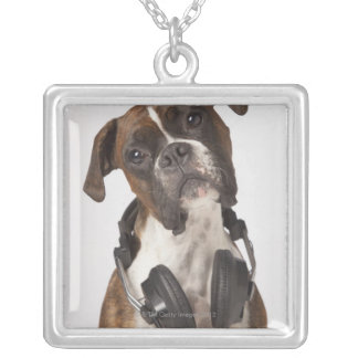 boxer dog with headphones square pendant necklace