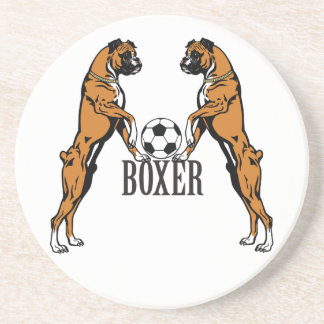boxer dog with soccer ball coaster