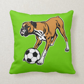 boxer dog with soccer ball cushion