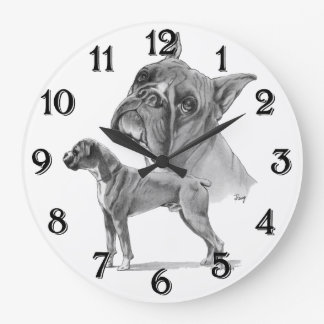 Boxer Dogs Large Clock