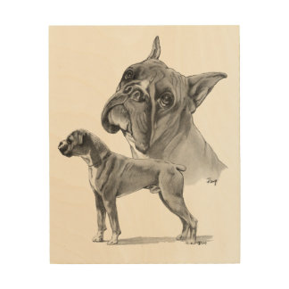 Boxer Dogs Pencil Drawing Wood Wall Decor