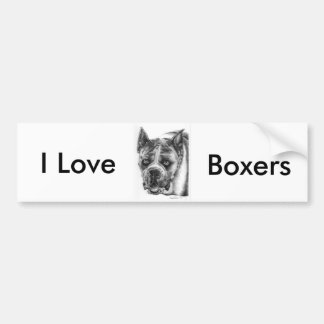 Boxer Drawing Bumper Sticker