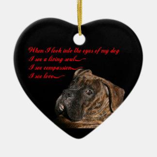Boxer: Eyes of my dog Ceramic Heart Decoration