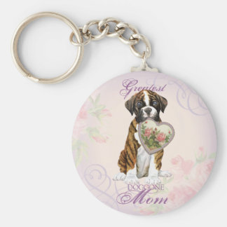 Boxer Heart Mom Basic Round Button Key Ring