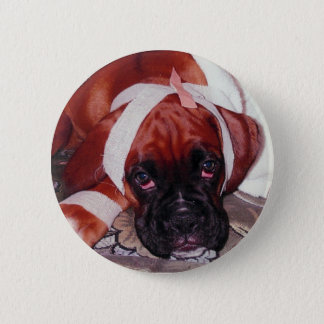 Boxer Looking Sick as a Dog - Get Well Soon card 6 Cm Round Badge