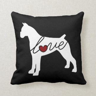 Boxer Love (Docked Ears) Throw Pillow