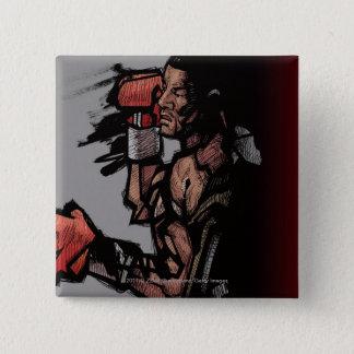 Boxer lying down 15 cm square badge