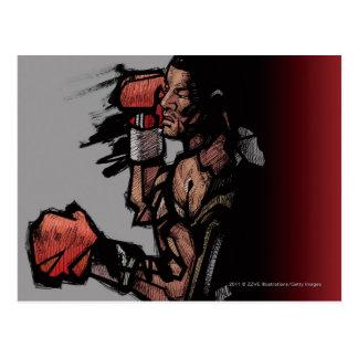Boxer lying down postcard