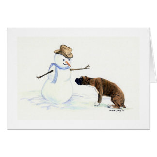 """Boxer Meets Snowman"" Dog Art Notecard"