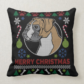 Boxer Merry Christmas Ugly Sweater Throw Pillow