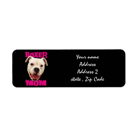 Boxer Mum dog Return Address Label