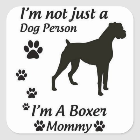 Boxer Mum Square Sticker