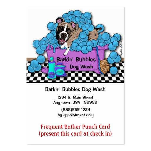 Boxer Pet Grooming Frequent Bather Punch Card Business Card Template