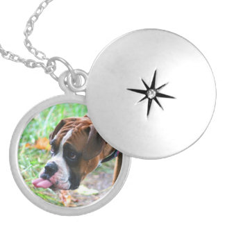 Boxer Photo Sticking Out Tongue Locket Necklace