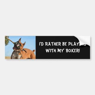 Boxer playing bumper sticker