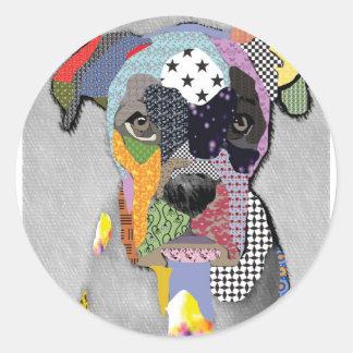 Boxer Portrait Classic Round Sticker