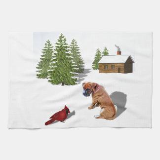 Boxer Pup and Cardinal Tea Towel