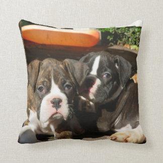 Boxer puppies American MoJo throw pillow