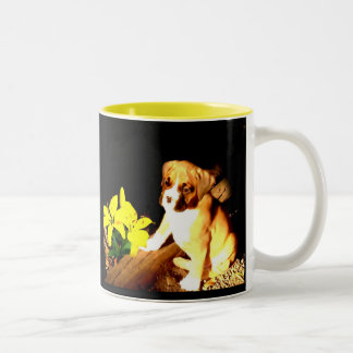 Boxer puppy and lilies Two-Tone coffee mug