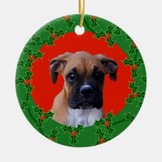 Boxer puppy christmas ornament