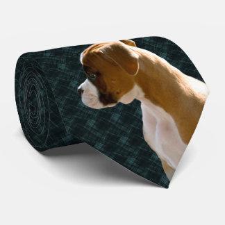 Boxer Puppy Dog Cutout Executive Blue & Black Tie