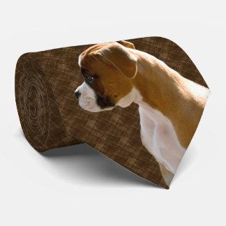 Boxer Puppy Dog Cutout Executive Brown Tie