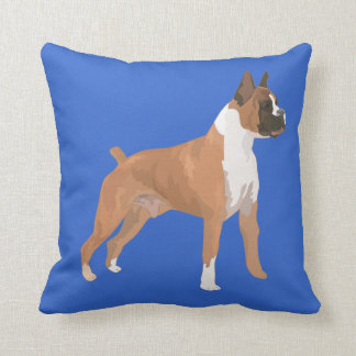 Boxer Puppy Dog Graphic Blue Designer Pillow