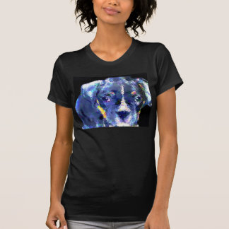 Boxer puppy in blue womens shirt