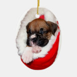 Boxer puppy in Christmas Stocking ornament
