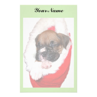 Boxer puppy in Christmas Stocking Stationary Stationery Design