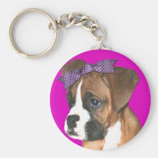 Boxer puppy in Pink Keychain