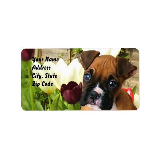 Boxer puppy in tulips address labels