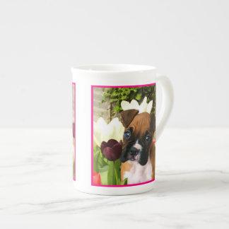 Boxer puppy in tulips bone china mugs