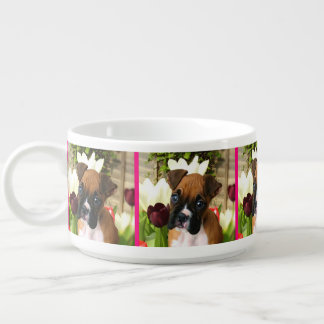 Boxer puppy in tulips chili bowl