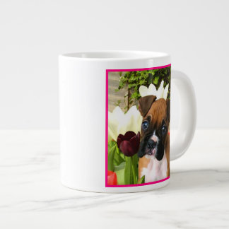 Boxer puppy in tulips extra large mugs
