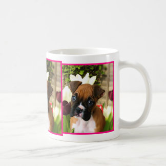 Boxer puppy in tulips mug