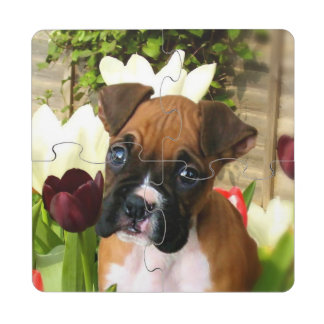 Boxer puppy in tulips puzzle coaster