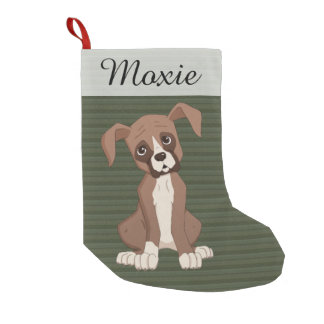 Boxer puppy on a Green Christmas Pattern Small Christmas Stocking