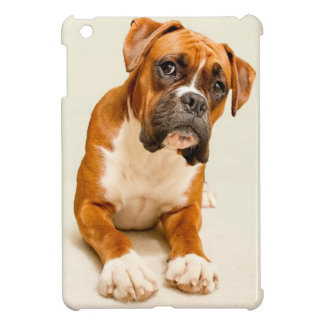 Boxer puppy on ivory cream backdrop. case for the iPad mini