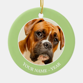 Boxer puppy on ivory cream backdrop. christmas ornament
