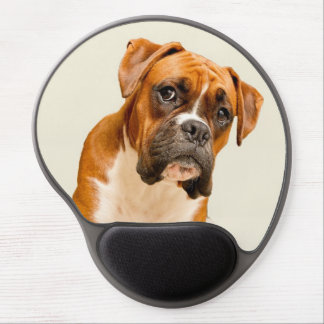 Boxer puppy on ivory cream backdrop. gel mouse mat