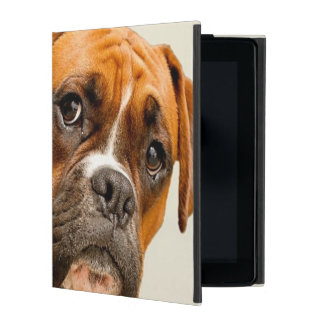 Boxer puppy on ivory cream backdrop. iPad folio case