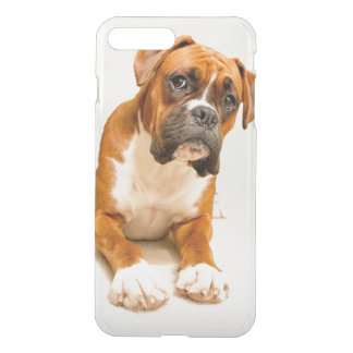 Boxer puppy on ivory cream backdrop. iPhone 8 plus/7 plus case