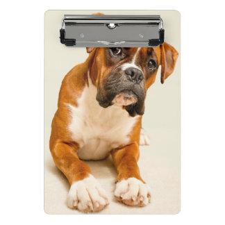 Boxer puppy on ivory cream backdrop. mini clipboard