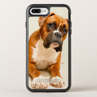 Boxer puppy on ivory cream backdrop. OtterBox symmetry iPhone 8 plus/7 plus case