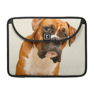 Boxer puppy on ivory cream backdrop. sleeve for MacBooks