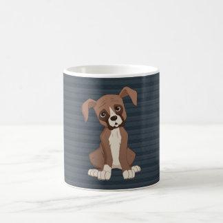 Boxer puppy on Navy Blue Pattern Background Basic White Mug